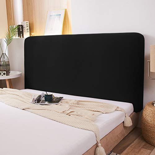 WOMACO Stretch-Bett-Kopfteil-Schonbezug, 180 g/m², dicker Stoff, einfarbig, staubdicht, Bett-Kopfschutz, Bezug für Schlafzimmerdekoration (schwarz, Queen-Size)