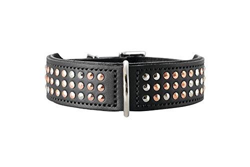HUNTER SAN DIEGO Hundehalsband, Leder, geschmeidig, Nieten, 60 (M-L), schwarz