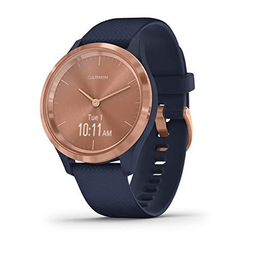 Garmin vivomove 3s, Smaller-sized Hybrid Smartwatch with Real Watch Hands and Hidden Touchscreen Display, Rose Gold with Navy Blue Case and Band (Renewed)
