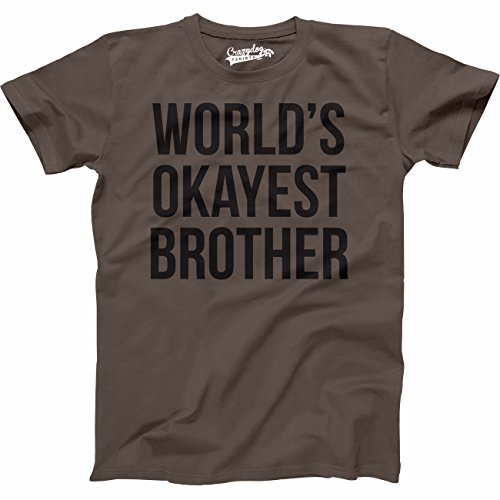 Mens Worlds Okayest Brother Shirt Funny T Shirts Big Brother Sister Gift Idea (Brown) - XXL