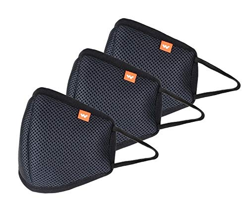 Wildcraft Hypa Shield W95 Reusable Outdoor Protection Mask (Black, Large)-Pack of 3