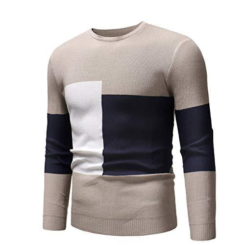 Luandge Suéter de Cuello Redondo Entallado a Juego para Hombre Moda Simplicidad Cómodo versátil Jersey de Punto Informal XXL