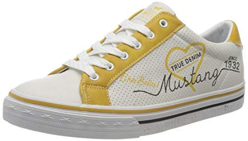 MUSTANG Unisex Kinder 5056-305-264 Sneaker, Elfenbein (Ice/Gelb 264), 35 EU