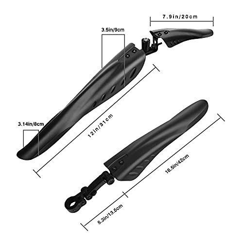 AILGOE Bike Mudguard for bikes with 24-29 inch bike mudguards set for front rear bike mudguard set, MTB plug-in mudguard to protect against splashed dirt and easy assembly(53 * 18 * 8)