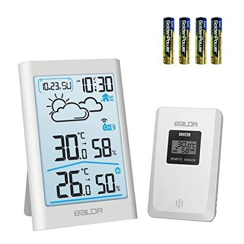 TEKFUN Wetterstation Funk mit Außensensor, Digital Thermometer Hygrometer Innen und Außen Raumthermometer Hydrometer Feuchtigkeit mit Wettervorhersage, Uhrzeitanzeige, Wecker und Nachtlicht