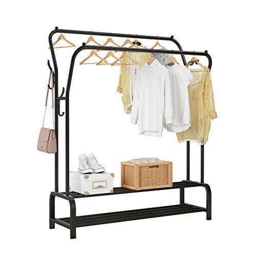 UDEAR Kleiderständer Freistehender Kleiderbügel Doppelruten Multifunktionale Schlafzimmer Kleiderständer, Doppelschicht, 8 Haken, schwarz