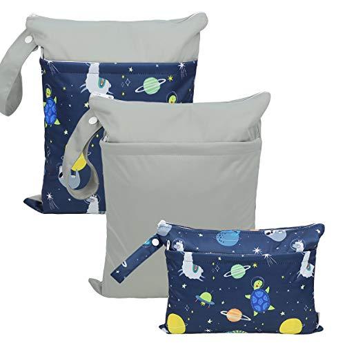 Hisprout Grab and Go wasserdicht waschbar wiederverwendbare Windel Wet Dry Cloth Wickeltaschen Anzug(Space Animal)