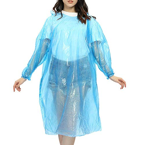 HSB Emergency Waterproof Rain Poncho with Drawstring Hood Pocket Raincoat for Men's and Women's Disposable Raincoat Card Pack of 5