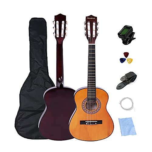 Guitarra acústica 1/2 guitarra española clásica 30 pulgadas para principiantes, Color Natural 6 cuerdas de nailon, guitarra para principiantes para estudiantes, niños y adultos