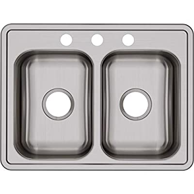 Dayton D225193 Equal Double Bowl Top Mount Stainless Steel Sink from Elkay