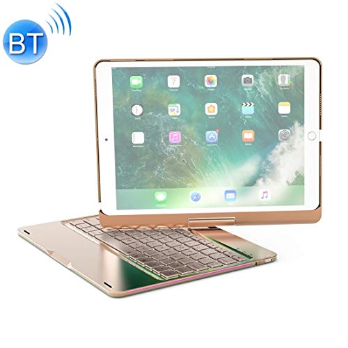 XUAILI Tablet Keyboard Case F360 For iPad Pro 10.5 inch & iPad Air 10.5 inch Rotatable Colorful Backlight Laptop Version Aluminum Alloy Bluetooth Keyboard Protective Cover (Color : Gold)