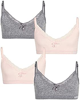 XOXO Girls  Training Bra - Seamless Cami Sports Bra with Removable Pads  4 Pack  Size M 34  Charcoal Grey/Himalayan Pink