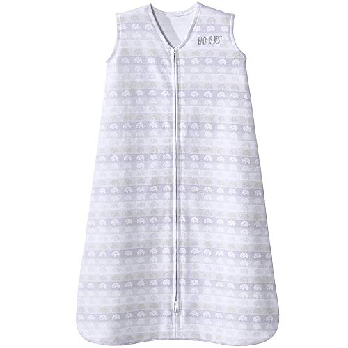 HALO Sleepsack 100% Cotton Wearable Blanket, Elephant Stripe, Medium, 6-12M