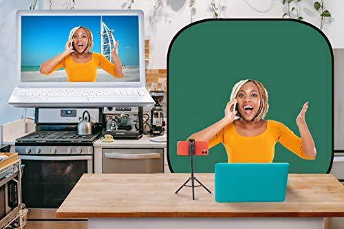 Eva-Tech ChromaKey Hintergrundbild, 180 cm, tragbar, für Video-Chats, Video-Konferenzen, Hintergrundentfernung, Befestigung auf einem Stuhl, Grün