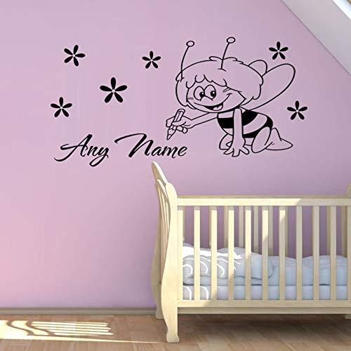 Hetingyue Custom Naam Children Muursticker kinderen kinderen kinderen Nursery Bedroom Decoration Bee Wall Sticker verwijderbare Vinyl Wall Sticker