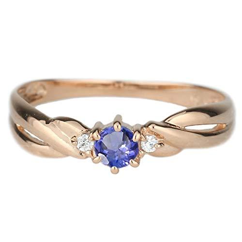 (リュイール)Luire 指輪 レディース タンザナイト リング 人気 2月 リング スリーストーン トリロジー カラーストーン 指輪 誕生石シンプル 18金 k18ピンクゴールド サイズ 10.5号