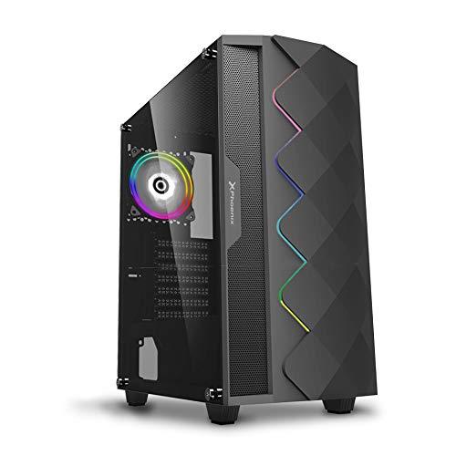 Phoenix Technologies - Torre Gaming Negra RGB, Cristal Templado, Compatible con Placas ATX, Mini-ATX, Incluye Ventilador RGB, Filtros Anti-Polvo y Tira Frontal RGB Sincronizada con Ventilador