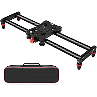 """Zecti 15.7"""" Portable Carbon Fiber Camera Slider Dolly Track With 4 Roller Bearing for Video Movie Photography Making Stabilizing Nikon Canon Pentax Sony Cameras 11.02lbs Loading"""