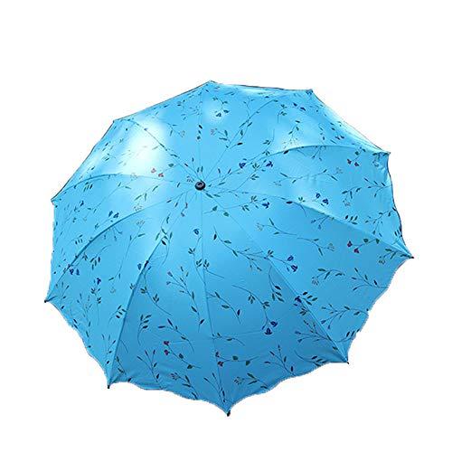 Ningz0l Paraguas Compacto Recorrido Paraguas Plegable Diez Huesos Tres Pliegues Sombrilla Plástico Negro Ola Grande Lado Impresión De Mimbre Paraguas De Doble Uso