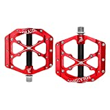 MZYRH Mountain Bike Pedals Non-Slip Alloy Flat Pedals 9/16' 3 Bearing for Road BMX MTB Fixie Bikes