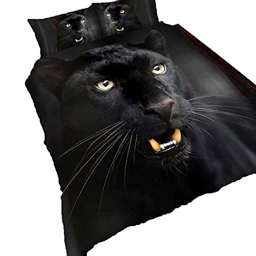 Queens Land Home 3D Animal Printed Duvet Set Quilt Cover Pillow Cases in (Double, 3D BLACK PANTHER)