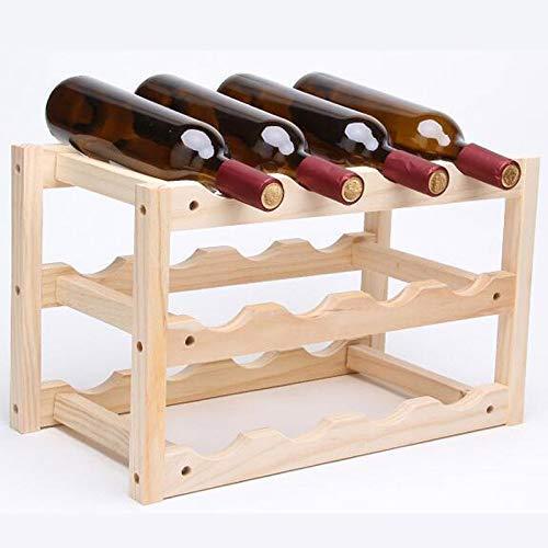 IF.HLMF Botellero para 12 botellas de vino de madera maciza, hecho a mano