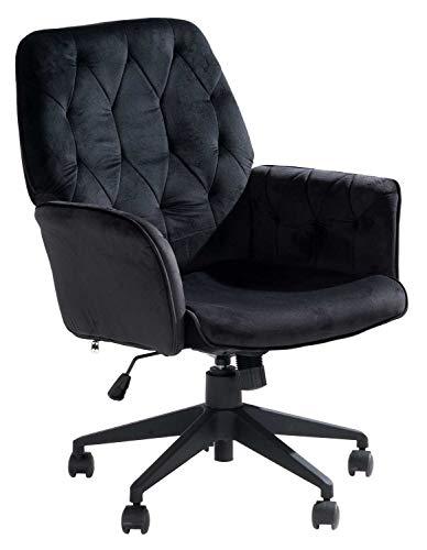 Home4You Bürosessel Bürostuhl Drehstuhl Schreibtischstuhl Computerstuhl   Samt   Schwarz   Höhenverstellbar   Wippfunktion