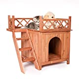 Koreyosh Wooden Dog House Indoor/Outdoor Pet Puppy Room Kennel with Stairs,Raised Roof and Balcony for Small Pets