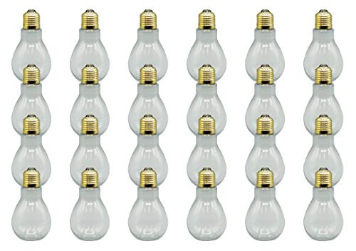 Creative Hobbies 24 Pack Clear Fillable Plastic Light Bulbs, Great for Candy, Wedding Party Favors, Crafts, Gifts, 4 Inch Tall