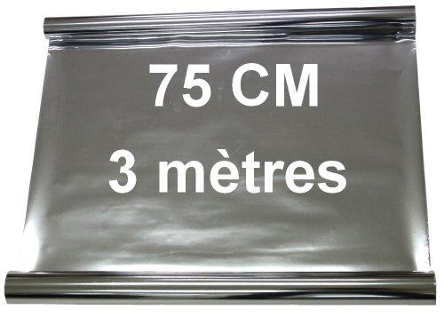 Aerzetix zonnefolie, 3 m, 75 cm, getint, zilverkleurig, spiegeleffect voor ramen, auto, Velux gebouw