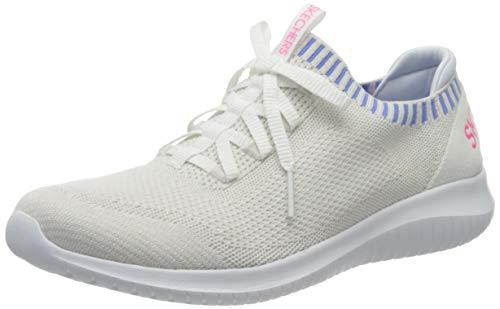 Skechers Ultra Flex-Rapid Attention, Zapatillas Mujer, Blanco (White Knit Mesh/Blue & Pink Trim Wblp), 36 EU