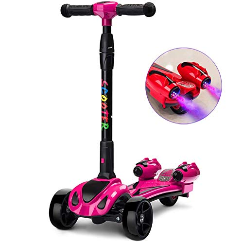 SZNWJ Ygqtbc Scooter for Kinder 3-Rad-T-Bar höhenverstellbare Griff Kick-Scooters mit Deluxe PU Flashing Räder...