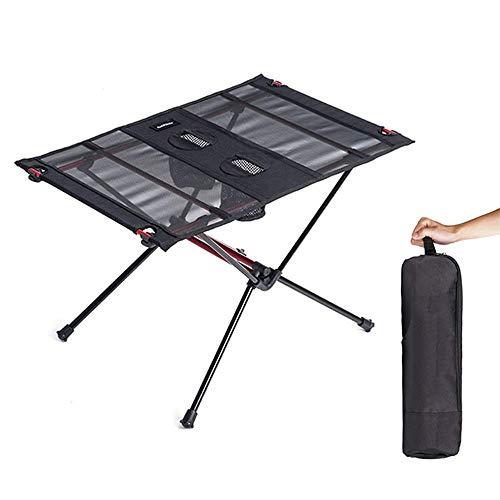 IUYJVR Klappbarer Camping-Picknicktisch, ultraleichter, tragbarer, kompakter, Leichter Tisch mit Getränkehalter und Tragetasche für Camp, Strand und Outdoor