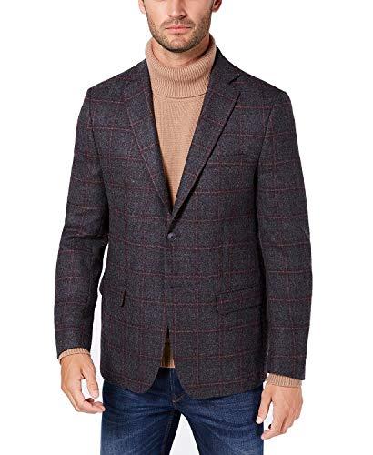 Michael Kors Men's Classic/Regular Fit Gray/Wine Windowpane Wool Sport Coat Grey/Wine 42 Long