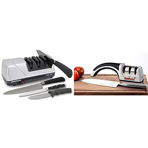 Chef'sChoice 15 Trizor XV EdgeSelect Professional Electric Knife Sharpener for Straight and Serrated Knives & ProntoPro Diamond Hone Manual Knife Sharpener Extremely Fast Sharpening, 3-Stage, Silver