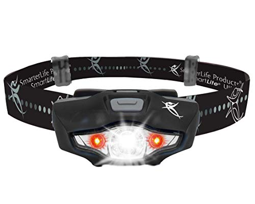 LED Headlamp Flashlight - 4 White and 2 Red LED Head Lamp Modes - Only 1 Battery, Lightweight, IPX6 Waterproof - THE Headlight Flashlight for Running, Camping, Hiking, DIY Projects - Adults and Kids