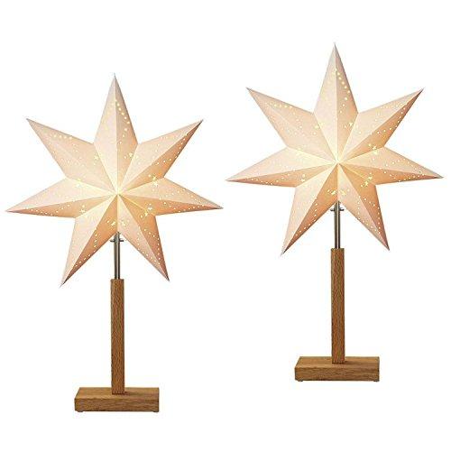 Standleuchte Stern Karo Mini | 2er Set | Lampe | Papierstern | Weihnachtsstern | Dekostern