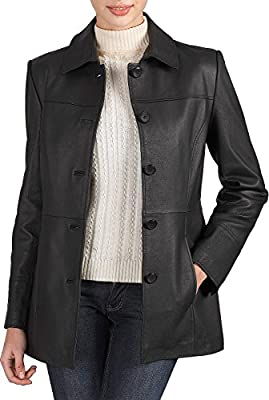 BGSD Women's Megan Lambskin Leather Car Coat Black Medium