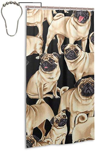BGNHG Duschvorhang Lovely Miniature Apricot Color Pugs Home Decorations Valid Mouldproof Shower Curtains Waterproof Opacity Decor Spa Curtain Bathroom Polyester Shower Curtain 36x72 Inch