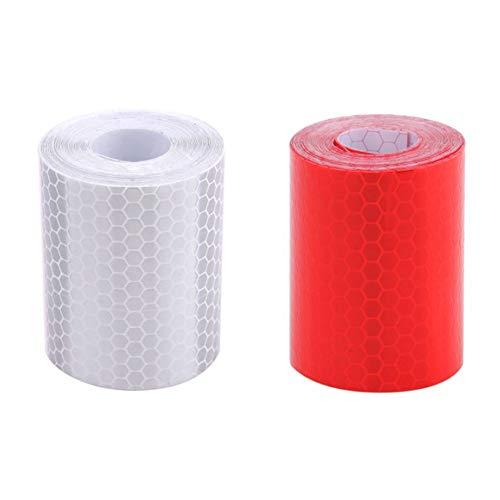 Sungpunet Rot Weiß Wabenreflektierendes Klebeband Wasserdicht Selbstklebend Anhänger Reflektorband für LKW Anhänger Auto Warnband 2