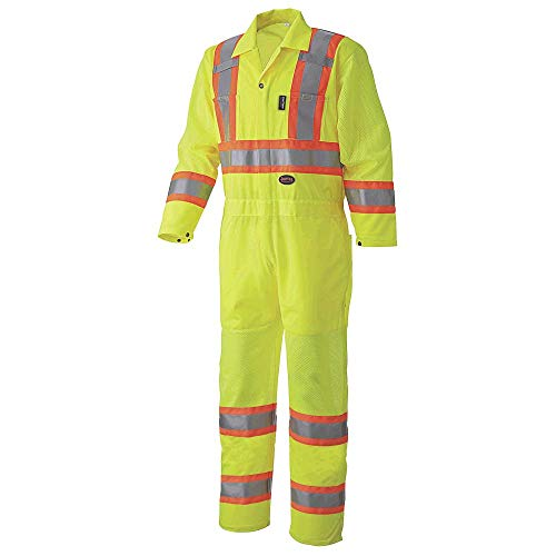 Pioneer High Visibility Polyester KnitTraffic Safety Coverall with Mesh Ventilation Panels, Reflective Tape, Leg Zippers, Yellow/Green, Unisex, XL, V1070160U-XL