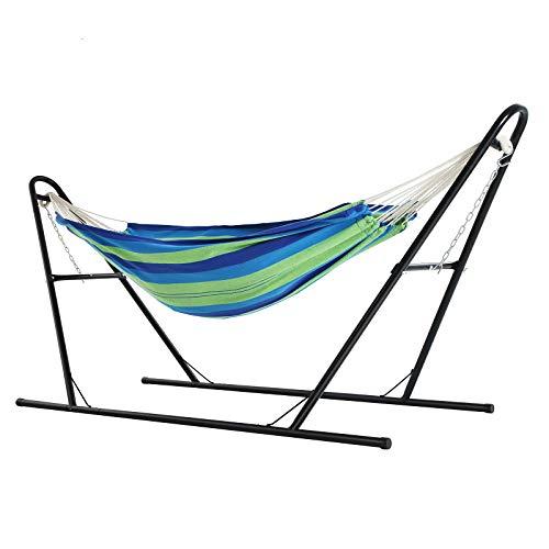 SONGMICS hangmat met standaard, dubbele hangmat op 210 x 150 cm, stevig ijzeren frame, met dubbele spoorbasis, verlengde voeten, draagvermogen 250 kg, tuin, buiten, blauwe en groene strepen GHS11UJ