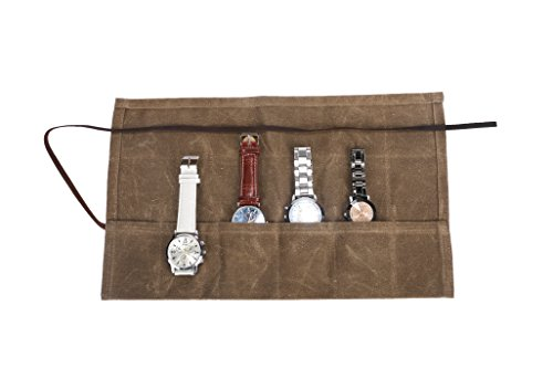 Waxed Canvas Watch Roll Handmade Waterproof MultiPurpose Travel Case Watch Rollup Organizer Holds 6 Wristwatches Best Gift for Him Her Boyfriend Girlfriend Mom Dad Wife amp Husband HGJ03I