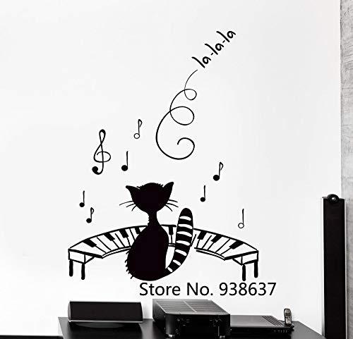 zqyjhkou Lustige Haustier Wandaufkleber Schwarze Katze Musik Piano Notes Big Modern Decor Wandbild Ungiftig PVC Material Decals Für Wand Z68x91cm