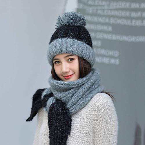 WZHZJ Sombrero de Invierno de Las Mujeres Sombrero de la Bufanda con Punto Sombrero Femenino pompón Gorras para Lady bonenet Grueso cálido Tapa de esquí Cuello