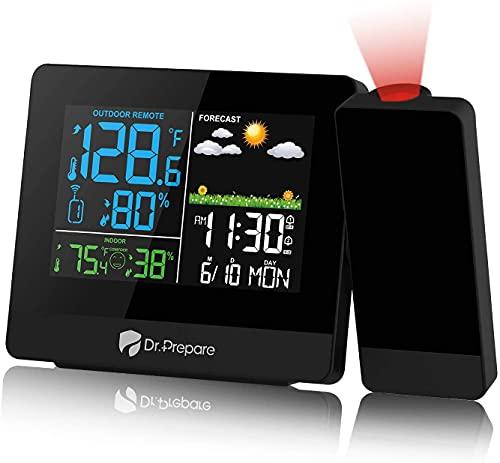 Dr.Prepare Projektionswecker Digital Wecker mit Projektion DCF Wetterstation mit Außensensor Projektionsuhr Zeigt Innen- und Außentemperatur Wettervorhersage für Schlafzimmer Büro Wohnzimmer