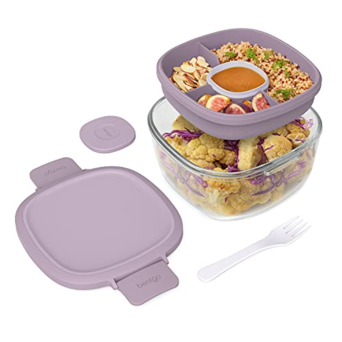 Bentgo Glass - Leak-Proof Salad Container with Large 61-oz Salad Bowl, 4-Compartment Bento-Style Tray for Toppings, 3-oz Sauce Container for Dressings, and Built-In Reusable Fork (Lavender)