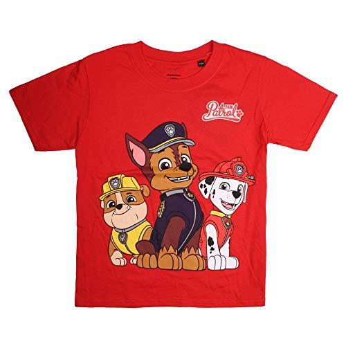 PAW PATROL Jungen Group T-Shirt, Rot (Red Red), 5-6 Jahre (Herstellergröße: SMALL)