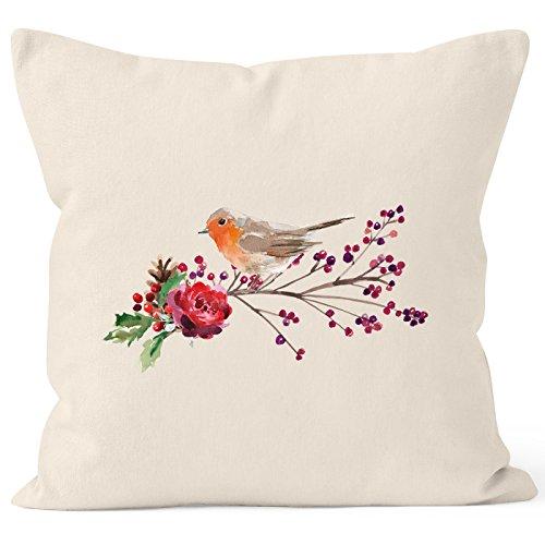 Autiga Kissenbezug Vogel Rotkehlchen Blumen Misteln Watercolor Bird Weihnachten Christmas Natur 40cm x 40cm