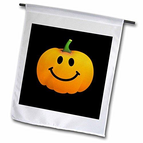 3dRose FL_123154_1 Orange Kürbis Smiley Gesicht auf schwarz-niedliche Happy Halloween Jack O Laterne Cartoon Lustige Smileys Gartenflagge, 30,5 x 45,7 cm